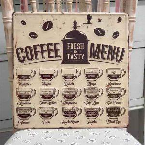 Rustic Metal 'Coffee Menu' Sign